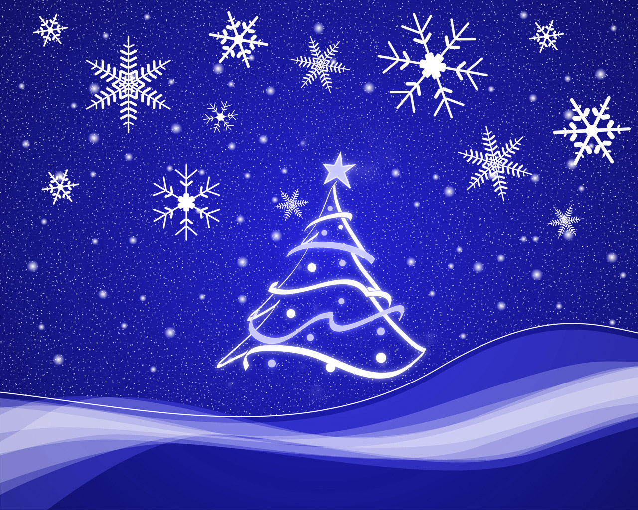 Snowflakes And Christmas Tree Stylized