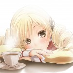mami tomoe (madoka magica) - with coffee cup - wallpaper